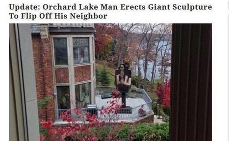 Etats-Unis: Il achète la maison en face de chez son ex et érige une statue en forme de doigt d'honneur   Conseil construction de maison   Scoop.it