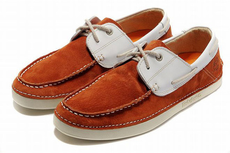 Timberland Classic Two Eye Mens Boat Shoe Orangered White | fashion list | Scoop.it