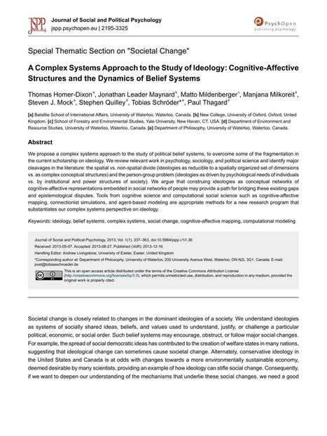 A Complex Systems Approach to the Study of Ideology: Cognitive-Affective Structures and the Dynamics of Belief Systems | Homer-Dixon | Journal of Social and Political Psychology | Complexity & Systems | Scoop.it