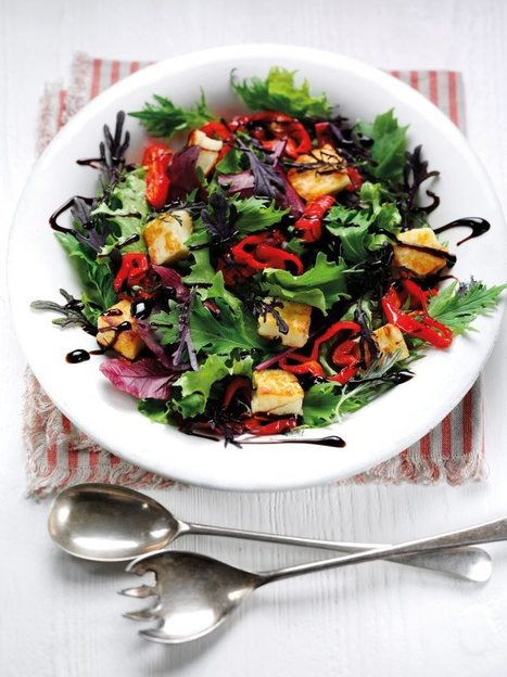 Red Frilly Mustard, Pepper and Halloumi Salad Vegetarian Recipe | Food for Foodies | Scoop.it
