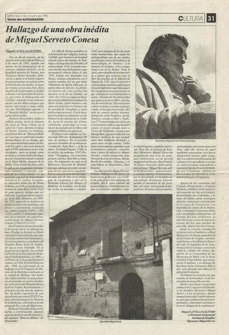 02-10-1996- Diary of the High Aragon- Article by Miguel Lavilla,  Director of the Michael Servetus Institute, on the importance of the new work by Servetus, discovered by Gonzalez Echeverria | Michael Servetus. Discovered  new works and true Identity. Proofs, lectures and International Congresses. | Scoop.it