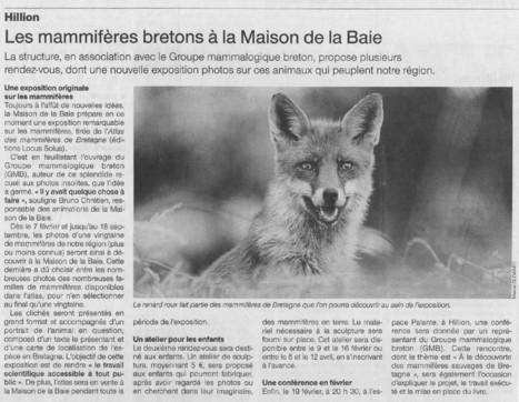 Les Mammifères bretons à la Maison de la Baie (22) | Revue de presse du Groupe Mammalogique Breton | Scoop.it