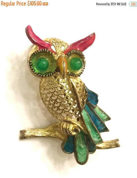 Brooch Sale Alice Caviness Owl Brooch, Sterling Silver, Gilt Clad, Germany, Plique a Jour Enamel, Caviness Figural, 1940s | Vintage Jewelry and Other Vintage Treasures | Scoop.it