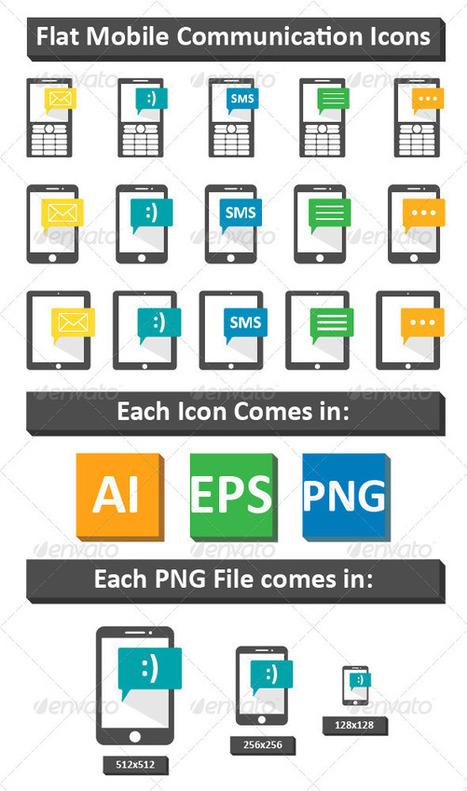 Flat Mobile Communication Icons (Technology) | GFX Database | GFX Download | Scoop.it