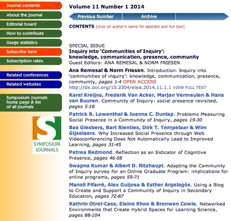 E-Learning - Special Issue: Inquiry into Communities of Inquiry | EDUCACIÓN 3.0 - EDUCATION 3.0 | Scoop.it