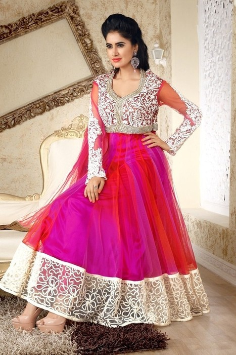 Gravity Fashion - Ready Made Alluring Pink & Plum Salwar Kameez   Bollywood Anarkali Dresses   Scoop.it