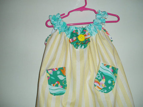Sweet Handmade Girls Sundress with pockets and embellishments in Yellow Stripes and Teal Accents SIZE 3 | Cool Stuff | Scoop.it