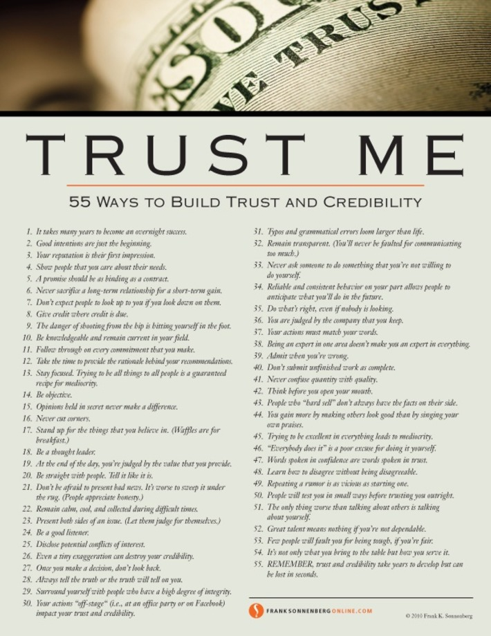 55 Ways to Build Trust and Credibility | Coaching Leaders | Scoop.it