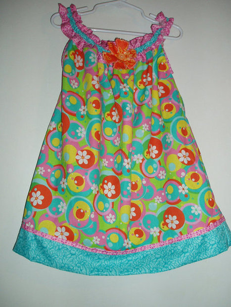Handmade Girls Sundress in Pink, Yellow, Teal, Orange, and Green SIZE 4 | Kids Clothing | Scoop.it