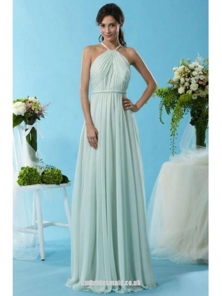 2014 New Design Girls Long Uk Bridesmaid Dresses UK with Halter,A-line,Chiffon Fabric,Floor-length, B2014112713 - Cmbridesmaid.co.uk   dressmebridal   Scoop.it