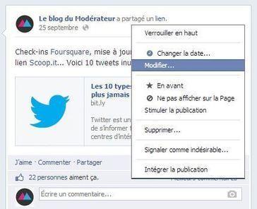[Facebook] Modifier un statut Facebook, c'est enfin possible ! | Communication - Marketing - Web_Mode Pause | Scoop.it