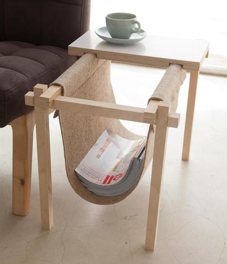 Felt and wood for a nice magazine Rack | Stilsucht | Du mobilier, ou le cahier des tendances détonantes | Scoop.it