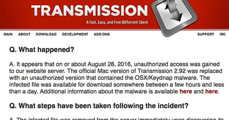 OS X malware spread via signed Transmission app... again | #Apple #CyberSecurity #Keydnap #Awareness | Apple, Mac, MacOS, iOS4, iPad, iPhone and (in)security... | Scoop.it