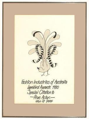 Certificate - Citation, Lyrebird Awards, Fashion Industries of Australia, Prue Acton, Framed, 1980 - Museum Victoria | The Romantics | Scoop.it