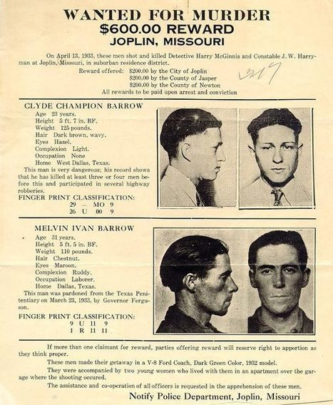 Primary Document 3   Wanted Poster     Clyde Barrow Wanted Poster, 1933 - Texas State Library and Archives Commission | Crimes of the 1930s by MP | Scoop.it