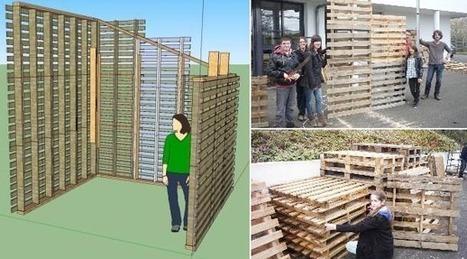 une cabane palette construite par des coll e. Black Bedroom Furniture Sets. Home Design Ideas