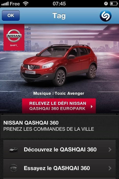 Nissan s'essaie à une communication simultanée télévision + mobile, via Shazam | Sport Marketing | Scoop.it