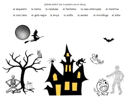 Spanish Halloween Printables: Picture Cards and Matching | Fond écran animé Halloween | Scoop.it