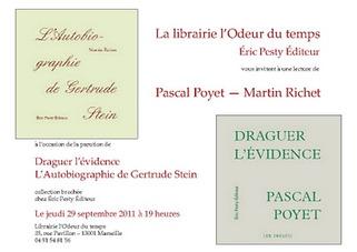 Martin Richet et Pascal Poyet à Marseille, le 29 septembre   Poezibao   Scoop.it