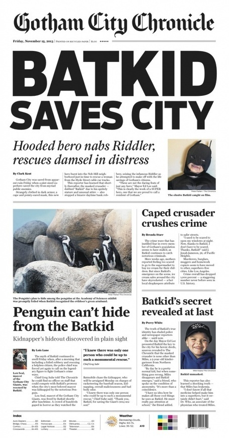 Chronicle will print special editions for 'Batkid' flashmob | Keeping informed | Scoop.it