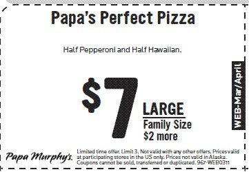 picture about Papa Murphys Printable Coupons named Printable Pizza Discount codes for Papa Murphys Puyallup WA My