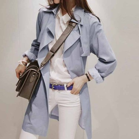Cheap Korean OL ultra-stylish Slim Large SkyBlue trench coat in women outcoat from women clothing on sightface.com | Cheap women Clothing Online at Sightface | Scoop.it