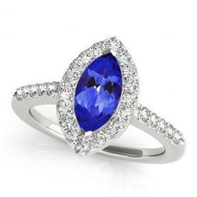 .22ct Marquise Tanzanite Ring With .224ctw Diamonds in 14k White Gold | Tanzanite Rings | Scoop.it