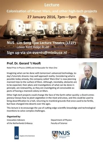 Lecture Nobel Prize in Physics Prof. Dr. Gerard 't Hooft | Nederlandse Ambassade in Singapore en Brunei, Singapore: Colonisation of Mars | MARS, the red planet | Scoop.it