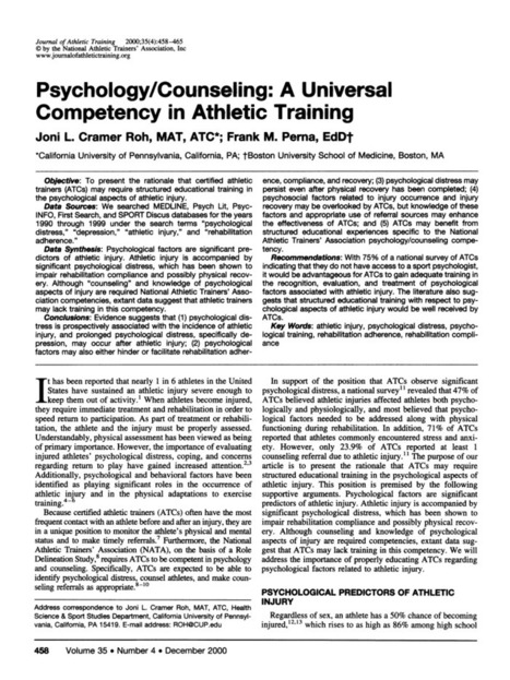 Psychology/Counseling: A Universal Competency in Athletic Training | Psychological predictors | Scoop.it
