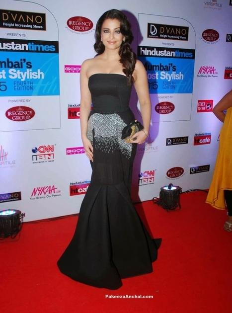Aishwarya Rai in Off Shoulder Toni Maticevski Black Gown at Mumbai Most Stylish 2015 | Indian Fashion Updates | Scoop.it