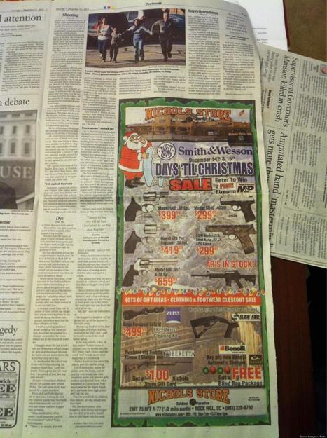 Oferta de armas por Navidad junto a la noticia de la masacre de Newtown (FOTO) | Masacres en centros educativos en EEUU | Scoop.it