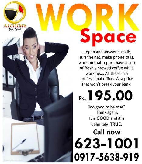 Conducive WORK SPACE at P 195.00 | Katipunan Gazette | Scoop.it
