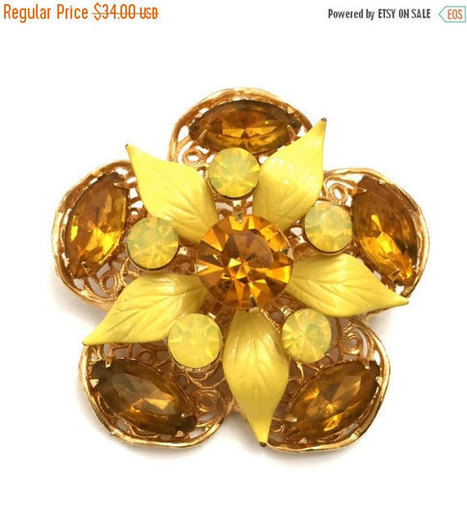 Brooch Sale Rhinestone Flower Brooch, Topaz  and Yellow Rhinestones, Marquises and Rounds, Yellow Enamel Leaves, Gold Tone Filigree | Vintage Jewelry and Other Vintage Treasures | Scoop.it