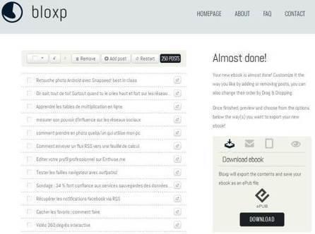 Exporter les billets d'un blog dans un ebook, Bloxp | les ebooks | Scoop.it