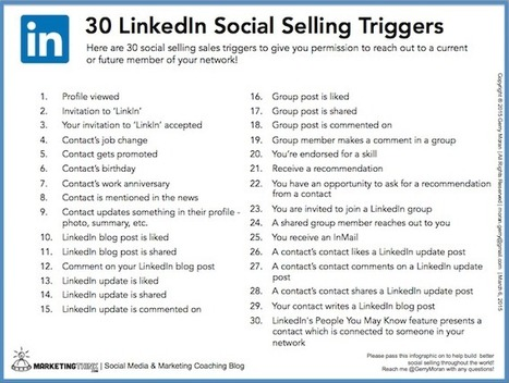 30 LinkedIn Triggers That Provide a Sales Opening | Mentalist | Scoop.it