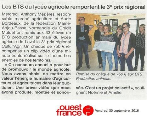 Les BTS PA reçoivent le 3e prix régional Cultur'Agri | Le lycée agricole de Laval | Scoop.it