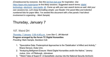 "Unofficial MLA 2016 List of ""Digital Humanities"" Sessions 