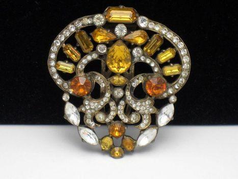 STARET Scarce Huge 1940's  Amber Orange Rhinestone Dress Fur Clip | Designer Jewels on the Red Carpet | Scoop.it