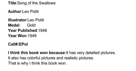 Caldecott Book - Felicia C | Caldecott Medal Winning Books (Created by 3rd graders) | Scoop.it