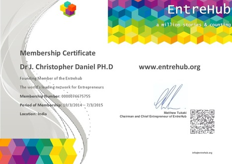 Dr.J.Christopher Daniel is a Founding member of the Entrehub-The world's leading network for Entrepreneurs | Introducing Goodwill Social Work Centre,Madurai,India-Inviting Partnership Initiative! | Scoop.it