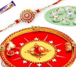 Hand crafted swastik shagun thali with rakhi set and sweets Rs 2229 INT_RTH09 Cheap Economy Rakhi Indiangiftguru | Send Rakhi Gifts Online | Scoop.it