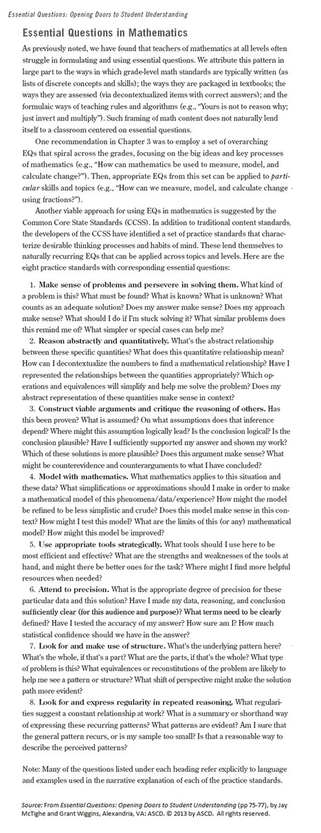 Essential Questions in Mathematics—An Excerpt from McTighe and Wiggins's New Book | ASCD Inservice | Essential Questions | Scoop.it
