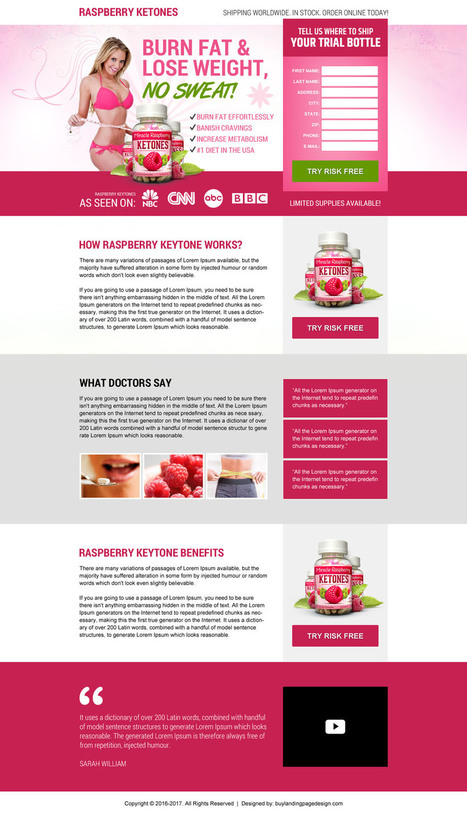 Raspberry ketone weight loss supplement landing page design | BuyLPDesign Blog | buy landing page design | Scoop.it