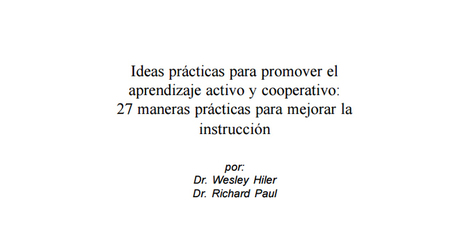 27 Ideas prácticas para promover el aprendizaje activo y cooperativo en pdf | Pasion por el Conocimiento | Scoop.it