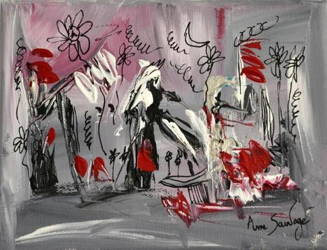 Tableau abstrait contemporain gris noir rouge a for Tableau noir blanc gris