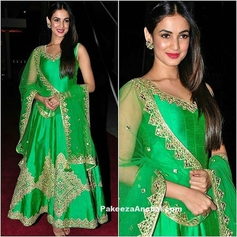 Sonal Chauhan in Parrot Green Embroidered Salwar Kameez | Indian Fashion Updates | Scoop.it