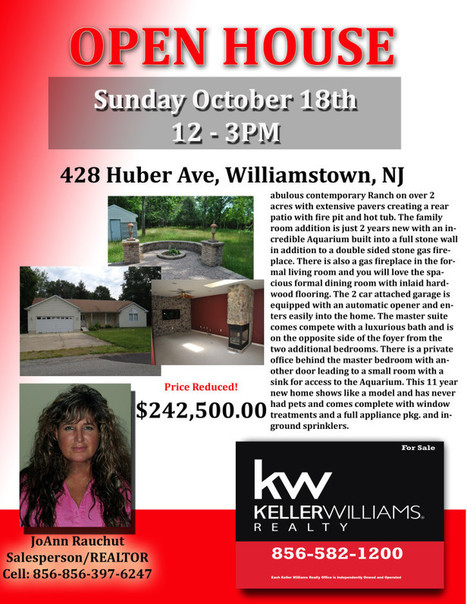 OPEN HOUSE Sunday Oct. 18th 12-3PM 428 Huber Ave Williamstown - Keller Williams Realty | SmartChoiceRealEstate | Scoop.it