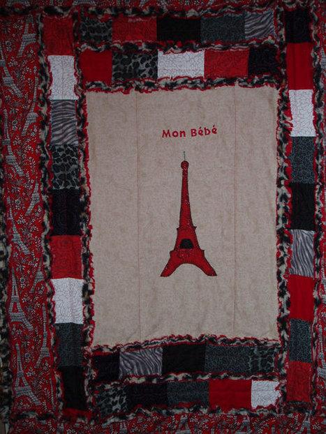 "Original ""Mon Bebe"" Eiffel Tower Baby Quilt black, red, white Hand Embroidered Heirloom Rag Quilt | Cool Stuff | Scoop.it"