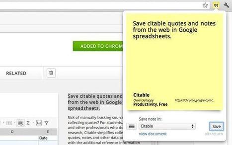 Citable: toma anotaciones y apuntes que se guardan automáticamente como una hoja de cálculo en Google Docs (Chrome) | e-learning y aprendizaje para toda la vida | Scoop.it