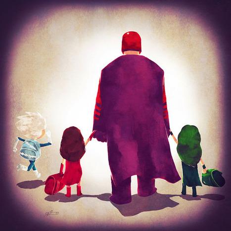 Super Families: Ilustraciones de superhéroes con sus familias camino a la escuela | Cómics y lectura | Scoop.it